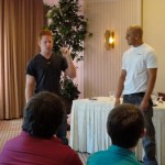 Luis Selgas working with an actor on his monologue
